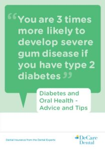 DeCare Dental brochure cover for advice on diabetes and oral health