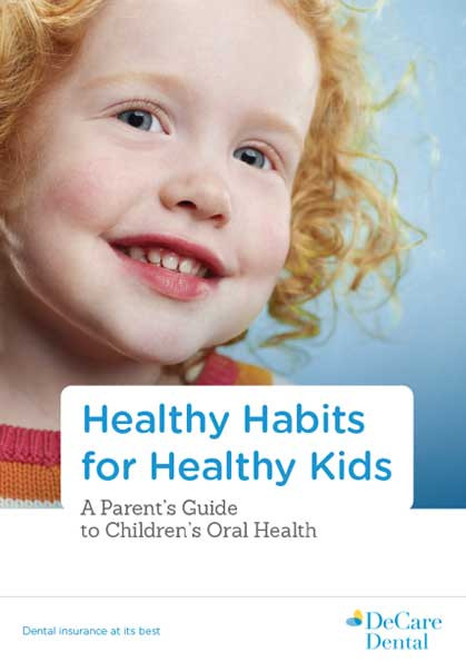 Brochure cover for healthy oral health habits for kids