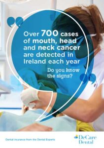 Brochure cover from DeCare that looks at the signs of mouth, neck and head cancer