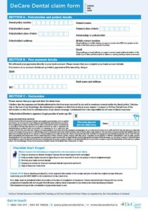 Snapshot of the DeCare Dental caim form