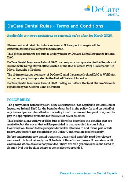 Image with DeCare Dentals terms and conditions outlined