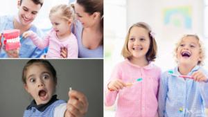 Kids and family members brushing their teeth