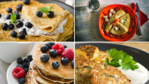 Four different types of crepes and pancakes
