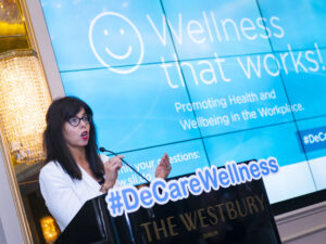 DeCare Dental Insurance Ireland MD Maureen Walsh speaking at an event.
